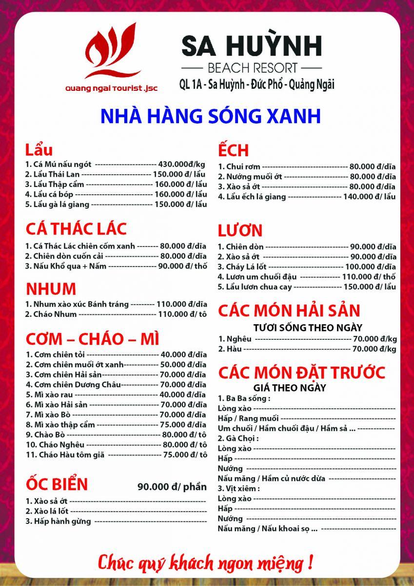 Thực đơn khai trương Nhà hàng Sóng Xanh - Khu du lịch Sa Huỳnh